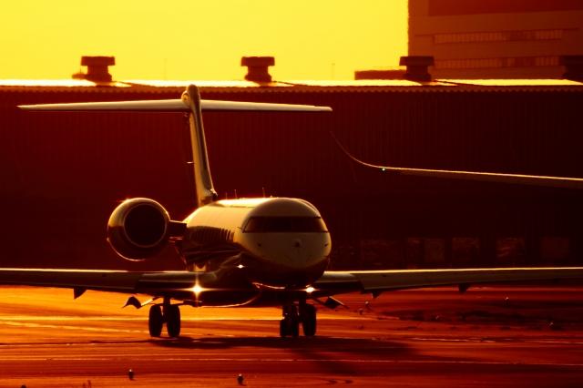 soku_34828.jpg :: ガルフストリーム/HND 乗り物 交通 航空機 飛行機 旅客機 風景 自然 空 夕日 夕焼け 日没