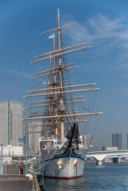 soku_35737.jpg :: 東京港 晴海埠頭 乗り物 交通 船 帆船 日本丸