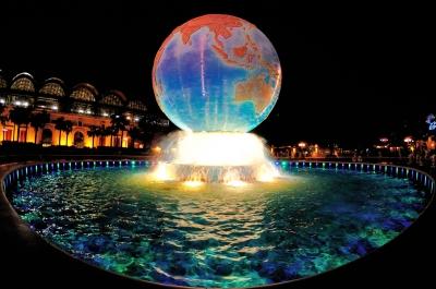 soku_01048.jpg :: ディズニーシー 夜景 水 噴水