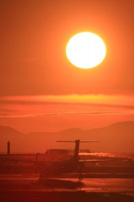soku_09643.jpg :: 乗り物 交通 航空機 飛行機 風景 自然 空 夕日 夕焼け 日没