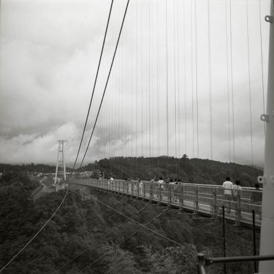 soku_09971.jpg :: 風景 街並み ランドマーク 橋 吊り橋 モノクロ 白黒 銀塩 フイルム