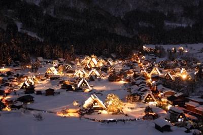 soku_10354.jpg :: 風景 自然 雪景色 夜景 白川郷 色 光 ライトアップ