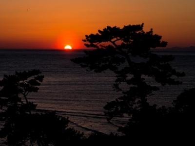 soku_12531.jpg :: 風景 自然 空 夕日 夕焼け 日没 海