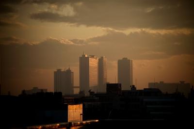 soku_13162.jpg :: 建築 建造物 高層ビル 夕焼け