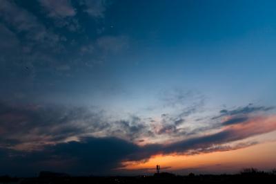 soku_13416.jpg :: 風景 自然 空 夕日 夕焼け 日没 月 ヘリコプタ 飛行機 (^_^)