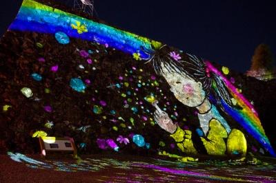 soku_13945.jpg :: 高知城花回廊 建築 建造物 城 高知城 色 光 ライトアップ