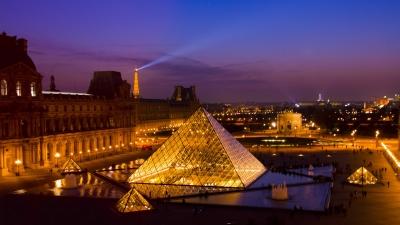 soku_15385.jpg :: 都市の風景 パリ ルーブル美術館 ピラミッド エッフェル塔 夜景