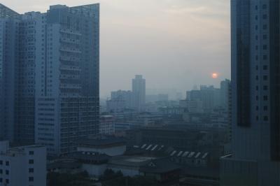 soku_18150.jpg :: 風景 街並み 都市の風景 ビル 夕日 夕焼け 日没
