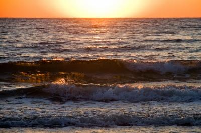 soku_21708.jpg :: 風景 自然 海 夕日 夕やけ 波