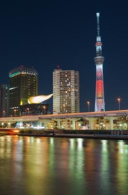 soku_23464.jpg :: 建築 建造物 塔 タワー 東京スカイツリー 色 光 ライトアップ
