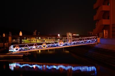 soku_25138.jpg :: 風景 自然 海 夜景 桟橋 色 光 ライトアップ