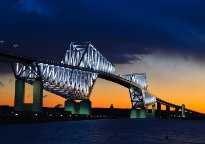 soku_26475.jpg :: 建築 建造物 橋 風景 街並み ランドマーク 東京ゲートブリッジ 夜景