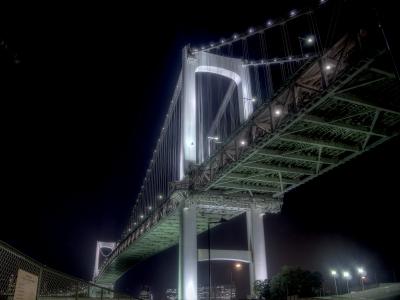 soku_26907.jpg :: 建築 建造物 橋 風景 街並み ランドマーク レインボーブリッジ 夜景