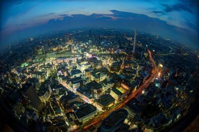 soku_27490.jpg :: 風景 街並み 都市の風景 夜景 魚眼レンズ フィッシュアイ
