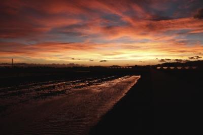 soku_28525.jpg :: 風景 自然 空 夕日 夕焼け 日没