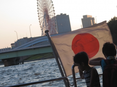 soku_28880.jpg :: 風景 街並み 都市の風景 日の丸 国旗 日章旗
