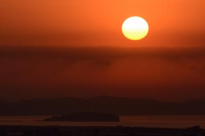 soku_29752.jpg :: 風景 自然 空 朝日 朝焼け 日の出 江の島