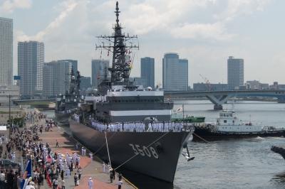 soku_30758.jpg :: TV.3508 かしま Kashima 海上自衛隊 東京港 晴海埠頭 練習艦隊 祝いの門出