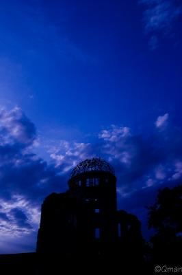 soku_30871.jpg :: 風景 自然 空 夕日 夕焼け 日没 原爆ドーム