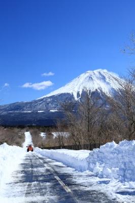 soku_31167.jpg :: 風景 自然 雪景色 雪道 富士山