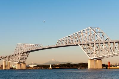 soku_31858.jpg :: 建築 建造物 橋 風景 街並み ランドマーク 東京ゲートブリッジ ヒコーキ