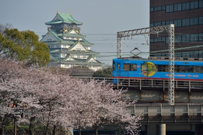 soku_32482.jpg :: 桜 大阪城 鉄道 建築 建造物 城