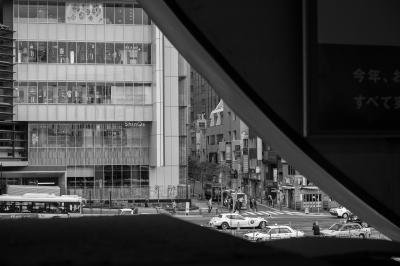 soku_32977.jpg :: 東急渋谷駅 風景 街並み 駅 モノクロ