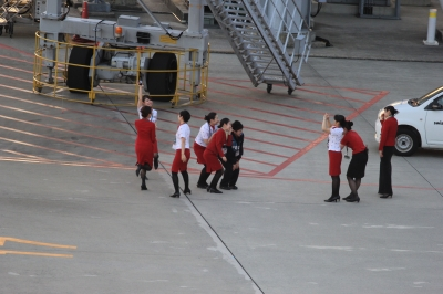 soku_33203.jpg :: 乗り物 交通 航空機 飛行機 旅客機 セントレア 客室乗務員 エプロン 記念撮影