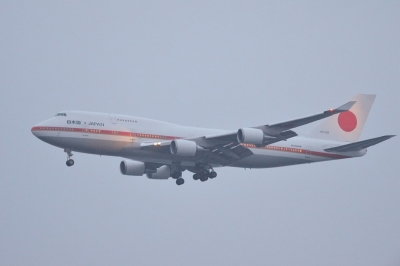 soku_33364.jpg :: 乗り物 交通 航空機 飛行機 軍用機 輸送機 B.747(日本国政府専用機)