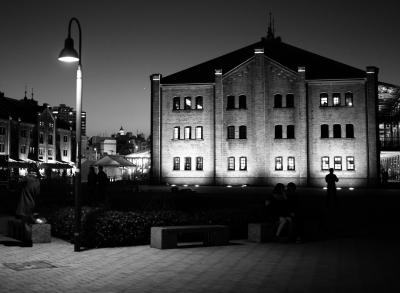 soku_33387.jpg :: 風景 街並み 都市の風景 外国 夜景 モノクロ