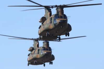 soku_33517.jpg :: 平成28年度 習志野空挺降下訓練始め 輸送ヘリコプター CH-47J