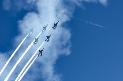 soku_33778.jpg :: ブルーインパルス 小牧オープンベース予行 乗り物 交通 航空機 飛行機 軍用機 ブルーインパルス T.4