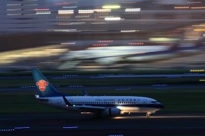 soku_34089.jpg :: 中国南方航空 B737/HND 乗り物 交通 航空機 飛行機 旅客機 流し撮り