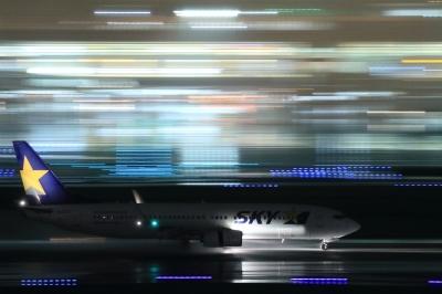 soku_34093.jpg :: SKY B737/HND 乗り物 交通 航空機 飛行機 旅客機 流し撮り