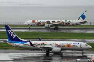 soku_34159.jpg :: ANA B737.800&B767 You&Me/HND 乗り物 交通 航空機 飛行機 旅客機