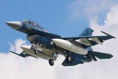 soku_34251.jpg :: 乗り物 交通 航空機 飛行機 軍用機 支援戦闘機 F-2A 増槽 岐阜基地