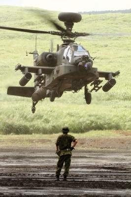 soku_34305.jpg :: 総火演予行 ヘリコプター 軍用機 陸上自衛隊 AH.64D アパッチ