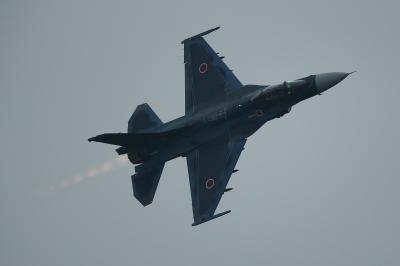 soku_34720.jpg :: 乗り物 交通 航空機 飛行機 軍用機 支援戦闘機 F-2A アフターバーナー