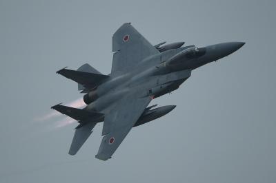 soku_34721.jpg :: 乗り物 交通 航空機 飛行機 軍用機 戦闘機 F-15J アフターバーナー