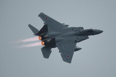 soku_34722.jpg :: 乗り物 交通 航空機 飛行機 軍用機 戦闘機 F.15J アフターバーナー