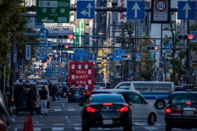 soku_34748.jpg :: 堺筋全部赤 風景 街並み 都市の風景 乗り物 交通 信号機