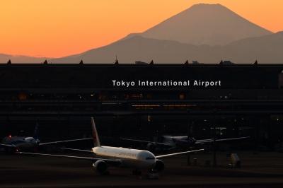 soku_34805.jpg :: B777/HND 乗り物 交通 航空機 飛行機 旅客機 風景 自然 山 富士山