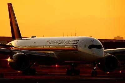 soku_34829.jpg :: A350/HND 乗り物 交通 航空機 飛行機 旅客機 風景 自然 空 夕日 夕焼け 日没