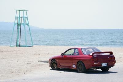 soku_35153.jpg :: 乗り物 交通 自動車 スポーツカー R32GTR 海 ドライブ