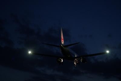 soku_35258.jpg :: 乗り物 交通 航空機 飛行機 旅客機 風景 自然 空 夜空