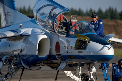 soku_35290.jpg :: 乗り物 交通 航空機 飛行機 軍用機 入間航空祭 ブルーインパルス T.4 地上展示