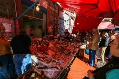 soku_35920.jpg :: 魚屋 パレルモ 風景 街並み 郊外の風景 外国 市場